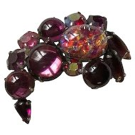 Signed Weiss Purple Jelly Opal Brooch