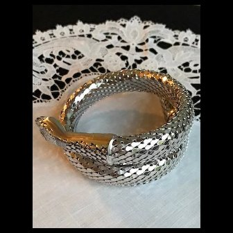 Whiting and Davis Silver Snake Coil Bracelet 1970's