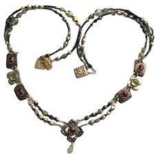 Vintage Holly Yashi Necklace with Garnets/Peridots