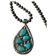 Vintage 1970's Zuni Wayne Panteah Pendant Necklace on String of Pearls