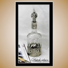 Antique Dutch Silver & Glass Liquor Bottle Circa 1902