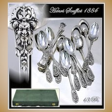 Good Antique Sterling Silver Spoon Set Sugar Tongs Renaissance Pattern