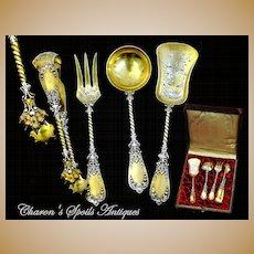 Antique French Silver Vermeil Hors d'Oeurvre Set Mascarons!