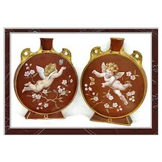 Pair Antique Mintons or Minton Moon Flasks HP Signed Putto