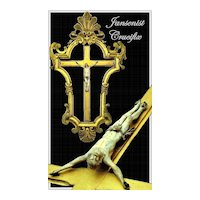 Antique Jansenist Crucifix w/ Elaborate Gesso Frame