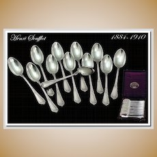 Henri Souflott: Twelve Antique French Sterling Silver Teaspoon Set