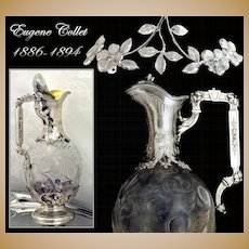 Collet: French Sterling Silver & Crystal Claret Jug or Decanter 1890