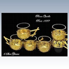 Queille: Fine French Sterling vermeil & Crystal Shot Glasses, Cordials