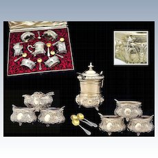 Antique French Sterling & Silver Boxed Condiment Set 6 Salt Cellars and 1 Mustard