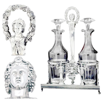 Dupezard: 1809 French Sterling Liqueur Service with Crystal Decanters