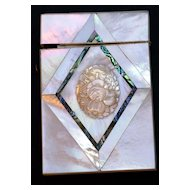 SALE! Exceptional Antique Sculpted Mother of Pearl Card Case