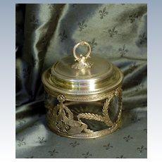Antique French Empire Vermeil & Crystal Casket, Sugar Caddy