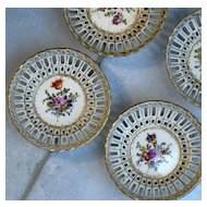 Set of Four Antique Dresden Nut Dishes Helena Wolfsohn
