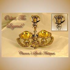 Odiot: Antique French Sterling Vermeil Grand Salt Crown!