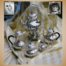 Antique French Sterling Silver Samovar Coffee Tea Cream & Sugar Set