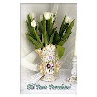 Antique French 'Old Paris' Vase Hand Painted  Gilt Floral Motifs