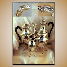 RARE! Antique French Sterling Silver Coffee Tea Set: Empire