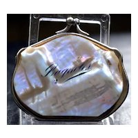 "Antique French Mother of Pearl Coin Purse ""Bagnoles"" c1880"