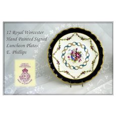 Antique Royal Worcester HP Dessert Plates: E Phillips Signed!