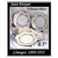 Subtle Delicate Limoges Dessert Plates Hand Painted Jean Pouyat