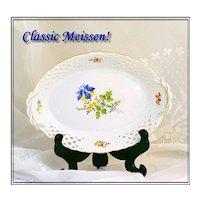 Vintage Meissen Reticulated Porcelain Basket HP Floral