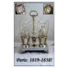 SALE!! VR Antique French Sterling Silver Cruet Set: 1819-1838 Marks