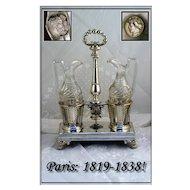 VR Antique French Sterling Silver Cruet Set: 1819-1838 Marks