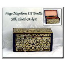 Magnificent Antique French Napoleon III Boulle Jewelry Desk Casket