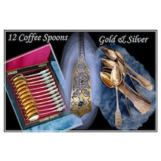 Antique French Vermeil Silver Coffee Spoon Set Rosewood Box & Key