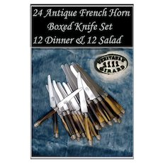 French Empire: Antique Silver & Horn Knife Set Boxed Set of 24