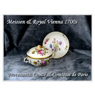 Rare! Antique Meissen Royal Vienna Covered Soup & Saucer 1700's Provenance