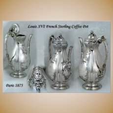 Antique Louis XVI French Sterling Coffee Pot Museum Quality