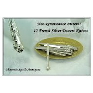 Antique French Silver Dessert Knife Set: Renaissance Pattern!