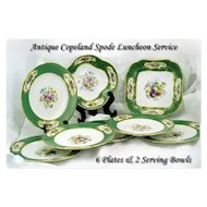 Antique Copeland Porcelain Luncheon Service: 6 Plates 2 Bowls