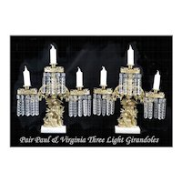 Pair Paul & Virgina Three Light Girandoles Mantel Garnitures