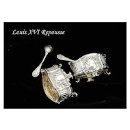 Louis XVI Style Antique French Sterling Vermeil Open Salt Liner & Spoon Set