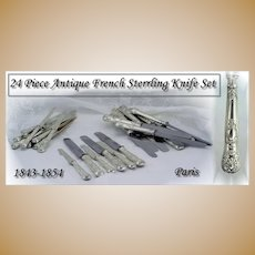 Antique French Sterling 24 Pc Knife Set for 12 Napoleon III