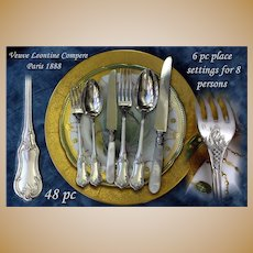 Great Antique French Sterling Flatware Set: 6 Pc Settings for 8 Persons