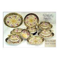 VR 6 Spode Porcelain Cups Saucers Hand Painted & Gilt C1810