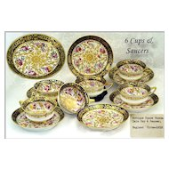 VR 6 Spode Porcelain Cups Saucers Hand Painted & Gilt C1810