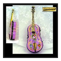 Antique French Hand Painted Gilt Porcelain & Dore Box Violin Shape