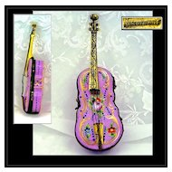 Antique French Hand Painted Gilt Porcelain & Dore Box Violin Shape