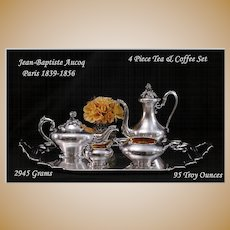 Antique French 4 Pc Sterling Tea Coffee Set: Aucoc 1839-1856