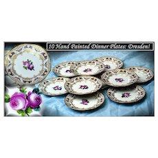 Gold Encrusted HP Dinner Plates Roses! Dresden Lamm