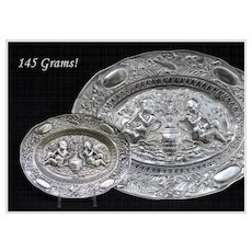 Decorative Antique German Silver Tray Putto Musical Themes