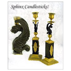 Antique French Pair Bronze Candle Sticks Sphinx Motifs!