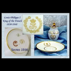 Antique Sevres Cream & Plate Provenance: Louis-Philippe King of the French