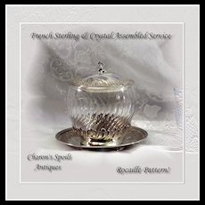 Assembled Antique French Sterling & Crystal Lidded Bowl Underplate