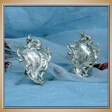 Puiforcat: Pair Louis XVI French Sterling Place Holders Ornate