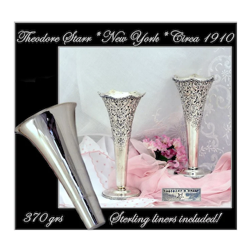 VR: Pair Theodore Starr Sterling Vases With Liners!